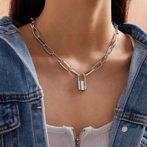 3/$30 Silver Lock Charm Necklace